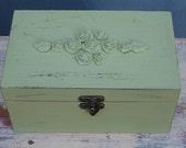Green Shabby Chic Wooden Jewelry Box