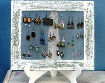 Shabby Chic Home Decor EARRING HOLDER / Cream / 25 - 35 Earrings
