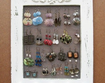 Jewelry Organizer Wood Wall Hanging Display Holder Necklace Earring Storage Jewlery Organization Frame Cream Shabby Chic