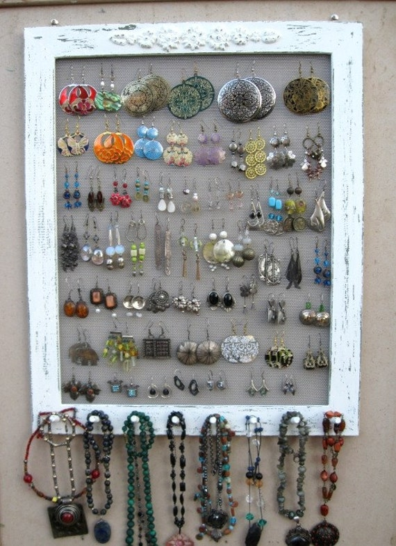JEWELRY DISPLAY ORGANIZER Cream Shabby Chic / 50 - 80 Earrings / 32 - 48 Necklaces