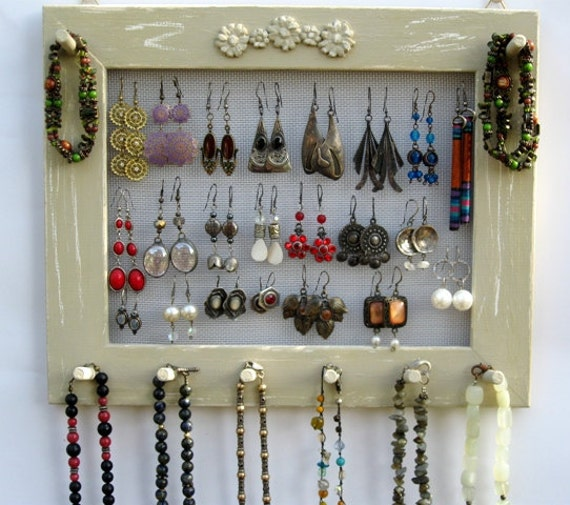 JEWELRY ORGANIZER HOLDER Widthwise mocca Shabby Chic / 25 - 40 Earrings / 24 - 36 Necklaces
