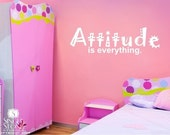 Wall Decal Quote Attitude Is Everything - Vinyl Wall Words Text Stickers Art Graphics