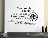 Road Less Traveled Wall Decals Quote (Robert Frost) - Vinyl Text Wall Words Stickers Art