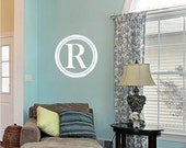 Monogram Wall Decals Simple Circle - Vinyl Text Wall Words Lettering Sticker Art