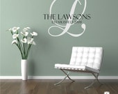 Family Monogram Wall Decal - Vinyl Wedding Sticker Art