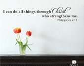 Bible Wall Decal Quote I Can Do All Things  - Vinyl Wall Stickers Art Scripture Verse