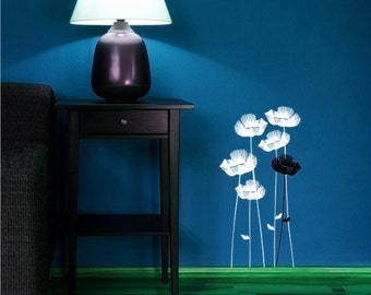 Wall Decals Poppies Field - Vinyl Wall Stickers Art Graphics