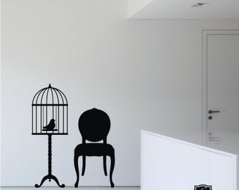 Birdcage Wall Decal In Good Company - Vinyl Text Wall Words Stickers Art Graphics
