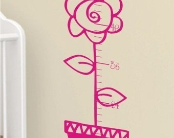 Growth Chart Wall Decal Flower Pot - Nursery Vinyl Wall Stickers Art