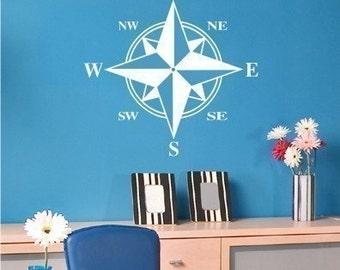Compass Wall Decal  - Vinyl Sticker Wall Art