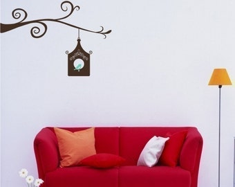 Wall Decals Birdhouse with Bird on Branch - Vinyl Wall Decals Stickers Art Graphics