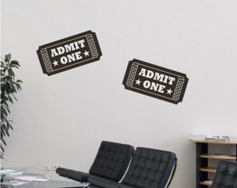 Movie Tickets Wall Decal Home Theater - Vinyl Wall Stickers Art Graphics