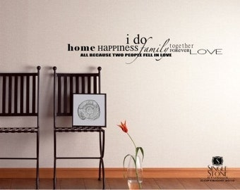 Family Word Wall Decal Collage - Vinyl Text Wall Sticker Art
