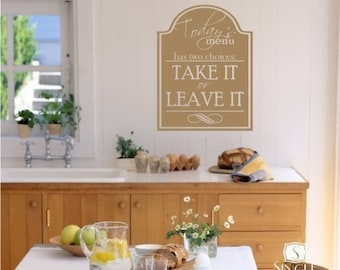 Wall Decals Kitchen Menu Sign - Vinyl Wall Stickers Art Graphics Words Lettering