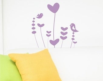 Whimsical Flower Garden Wall Decal - Vinyl Wall Stickers Art Graphics