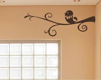 Bird Wall Decal Swirly Branch - Vinyl Wall Stickers Art Graphics