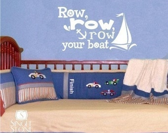Wall Decals Row Your Boat - Vinyl Nursery Text Wall Words Stickers Art Wall Quote