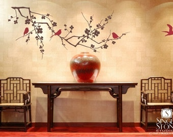Wall Decals Cherry Blossom Branch with Birds - Vinyl Wall Stickers Art Graphics