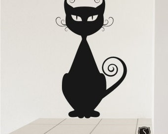 Cat Wall Decal Curly Q - Vinyl Wall Decals Stickers Art Graphics