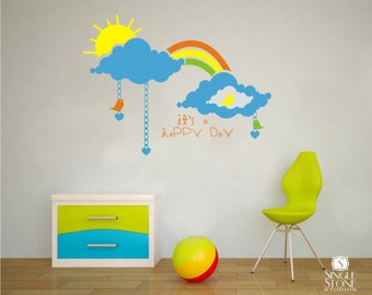 Nursery Wall Decals Happy Day - Vinyl Stickers Art