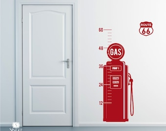 Vintage Gas Pump Growth Chart - Vinyl Wall Decals Stickers Art Graphics