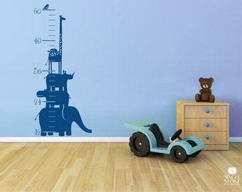 Growth Chart Wall Decal Safari Animal Stack - Nursery Vinyl Wall Stickers Art