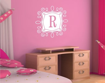 Monogram Wall Decal with Curly Frame - Vinyl Text Wall Words Stickers Art