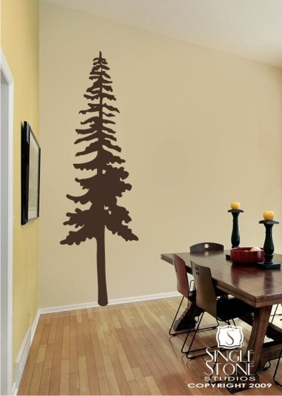 Perfect Tall Pine Tree Vinyl Wall Decals Stickers Art