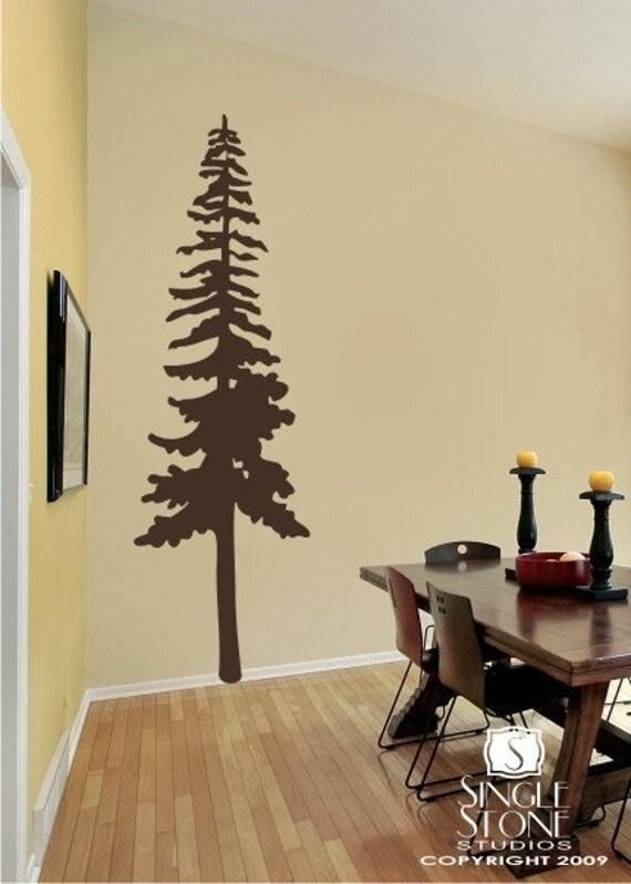 Perfect Tall Pine Tree Vinyl Wall Decals Stickers Art