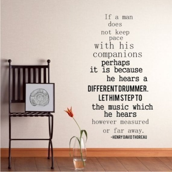 Different Drummer Wall Decal Quote by Henry David Thoreau - Vinyl Lettering Word Art