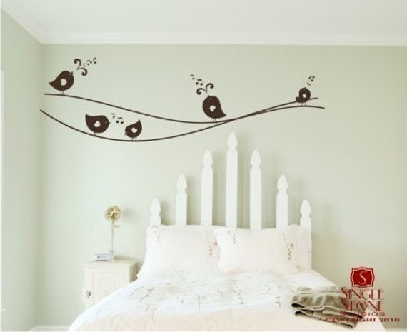 Bird Wall Decals Sweet Singing Birdies on a Wire - Vinyl Wall Stickers Art