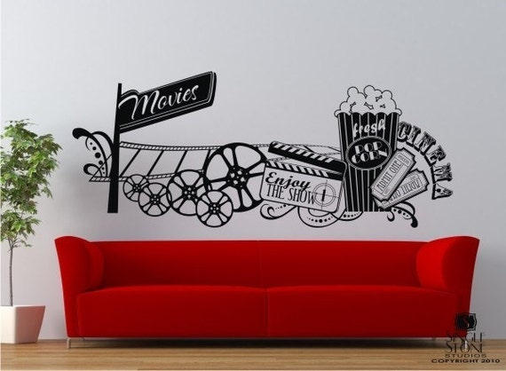 Movie Montage Wall Decals Vinyl Text Words Stickers Home