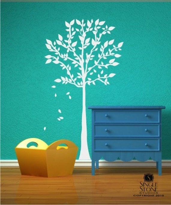Tree Wall Decal with Falling Leaves - Vinyl Sticker Art Wall Decals