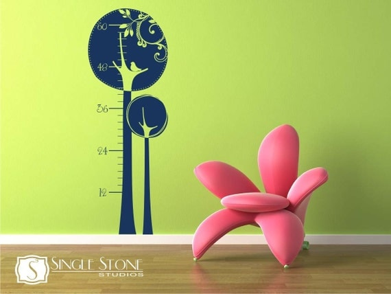Growth Chart Wall Decal Swirly Tree - Vinyl Stickers Art