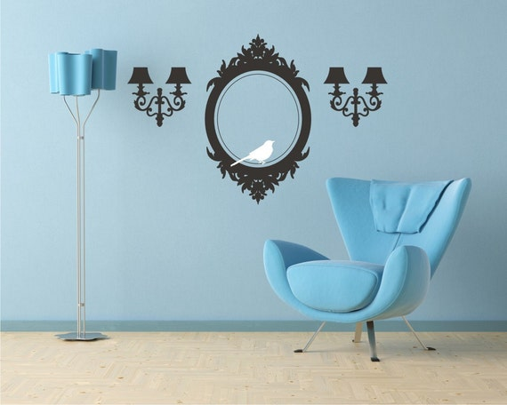 Wall Decals Frame and Sconces Elegant by singlestonestudios