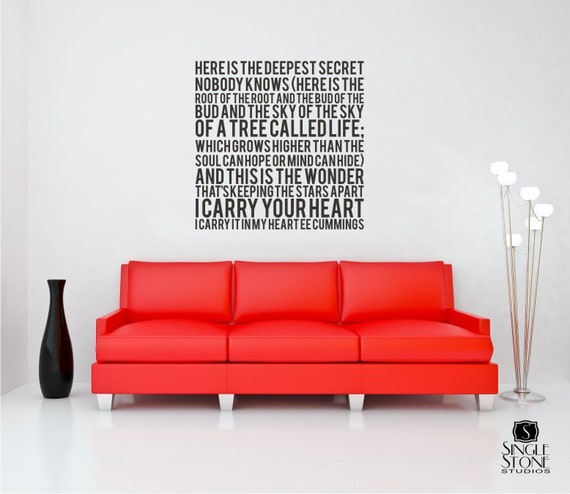 I Carry Your Heart Wall Decal Quote Text ee cummings - Vinyl Subway Art