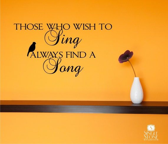 Wall Decals Wish To Sing -  Music Song Vinyl Text Wall Words Stickers Art