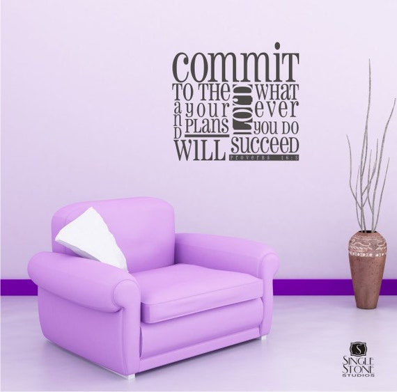 Wall Decals Proverbs 16:3 Scripture Design - Vinyl Wall Words Stickers Art Wall Quotes