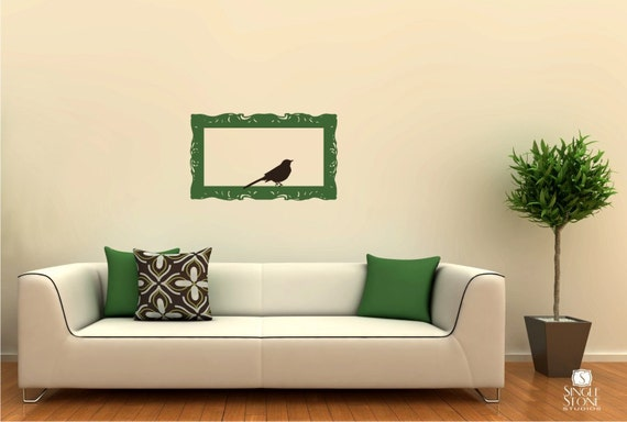 Wall Decals Frame Baroque with Bird Vinyl Wall Stickers Art