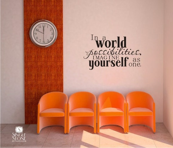 Wall Decal Quote World of Possibilites - Vinyl Wall Stickers Art Words Quote