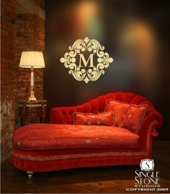 Baroque Monogram Vinyl Text Wall Decals Stickers Art