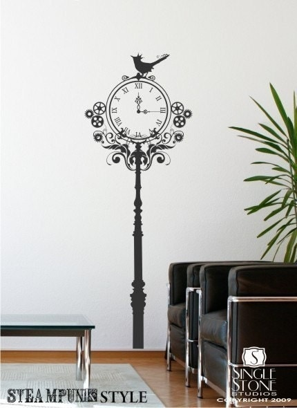 Steampunk clock wall decal vinyl text wall words stickers for Clock wall mural