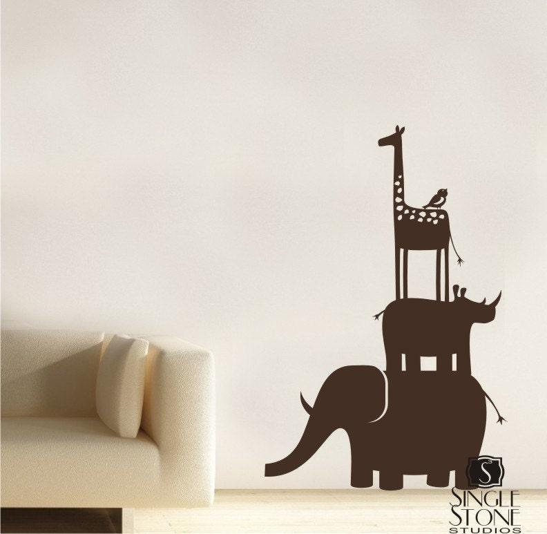 Animal Safari Kids Wall Decals Stack Vinyl Wall Art - Wall decals animals