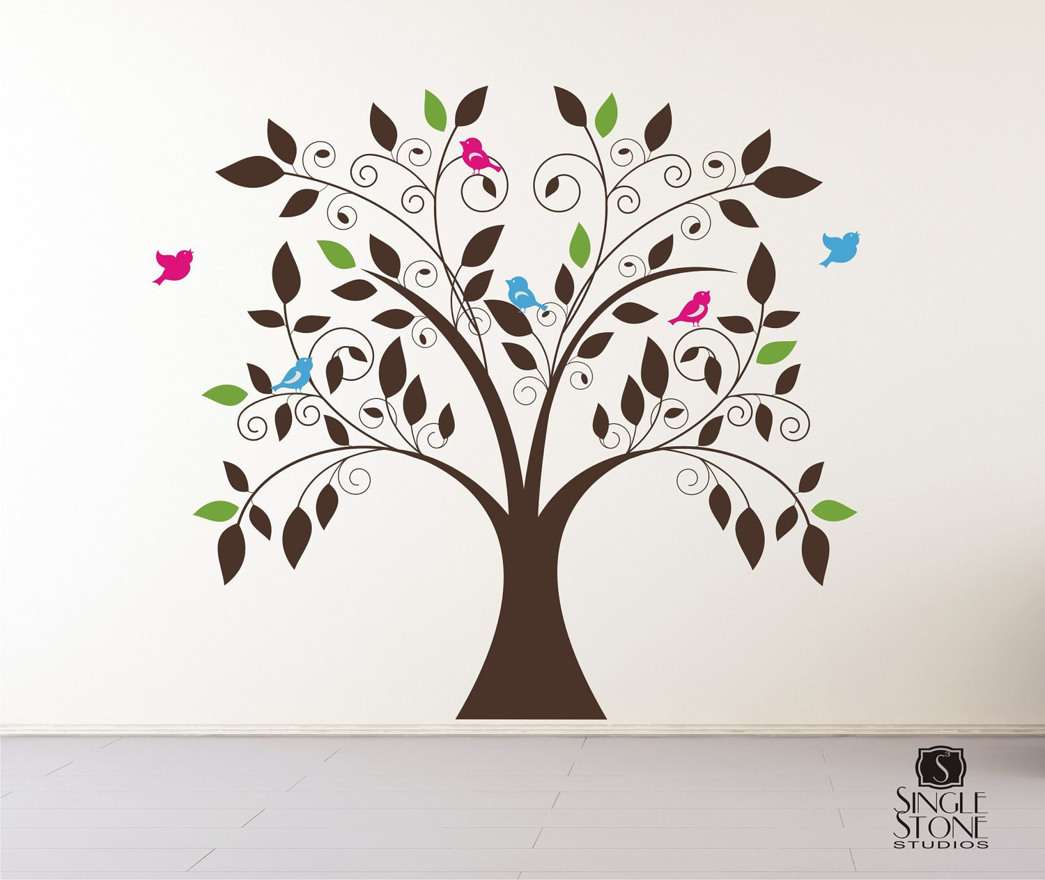 Nursery tree wall decal whimsical nursery vinyl wall for Tree wall art