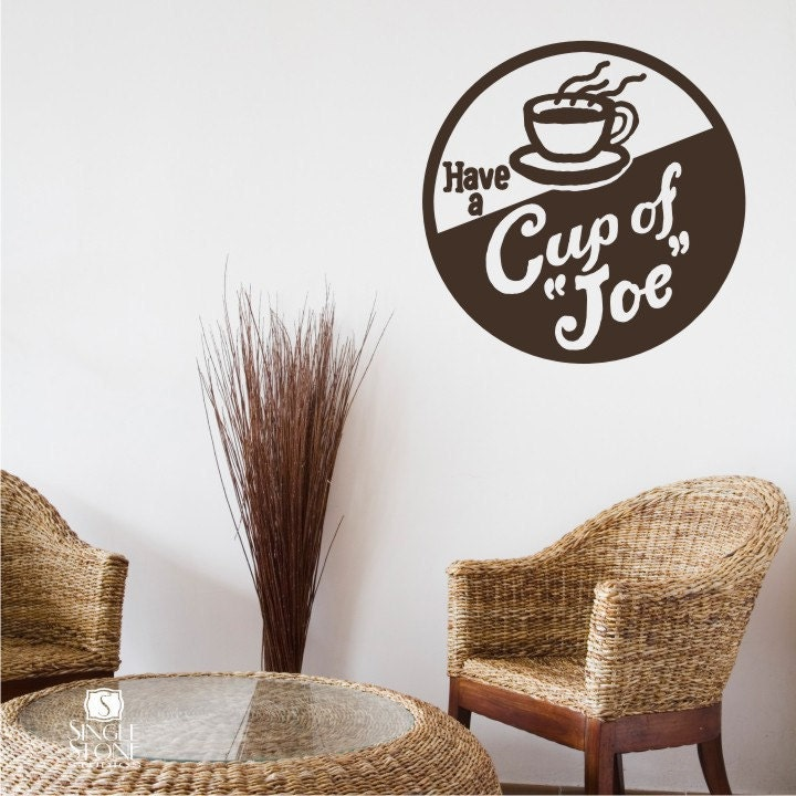 Coffee Sign Wall Decal Vintage Cup Of Joe Vinyl Wall - Custom vinyl wall decals coffee