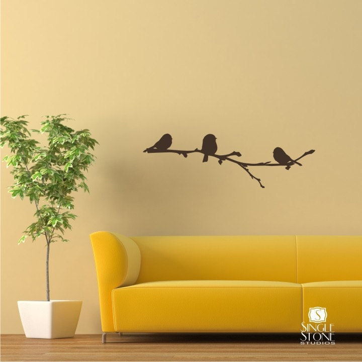 Winter birds on branch wall decal vinyl wall stickers art for Bird wall art