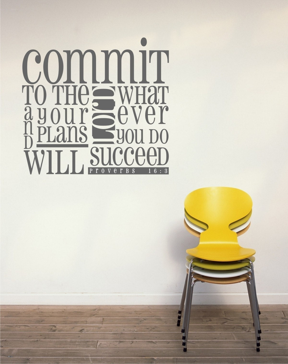 Proverbs 16 3 Scripture Design Vinyl Wall By