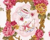4 Yards Japanese Cotton Fabric Lolita Tokyo It Girl Wonderland Alice Tea Border Flowers Ribbon Pink