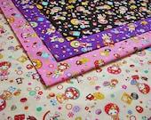 Half Yard Japanese Cotton Fabric Hanachan Bunka Doll Retro Style 4 to choose