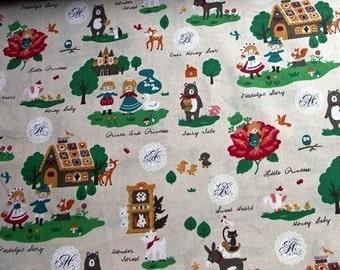Half Yard Japanese Cotton Fabric Nostalgic Stories Bremen Hansel Gretel Thumbelina Natural
